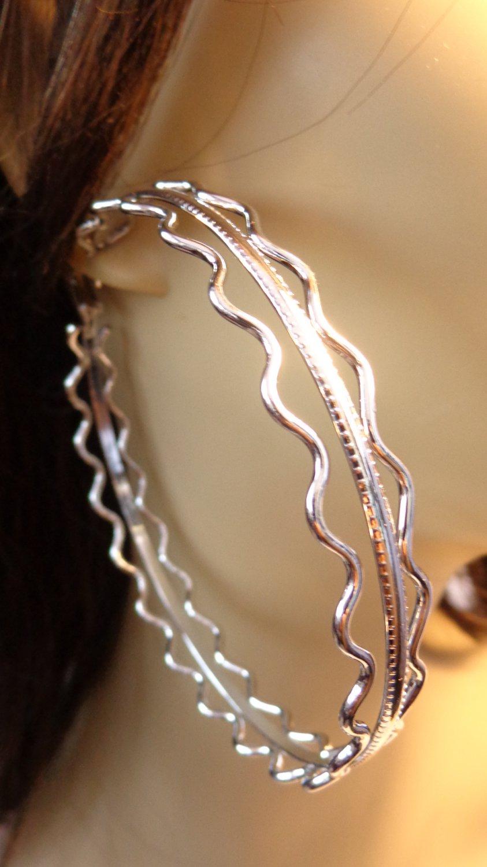 3.5 inch Hoop Earrings Silver Wave Design Hoop Earrings