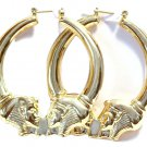 Egyptian Gold Tone Hoop Earrings