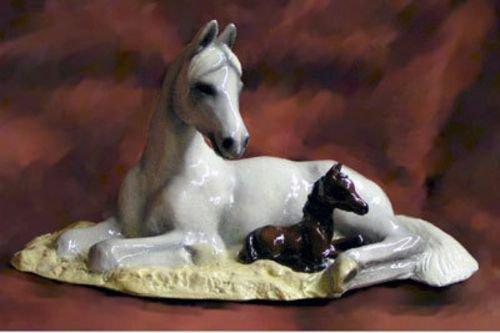 Arabian mare and Foal Figurine
