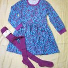 NWT Hanna Andersson Aqua Violet Playdress & Tights 110