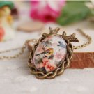 Vintage Style Bird And Flower Necklace