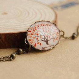 Retro Tree of Life Bronze & Gemstone Bracelet
