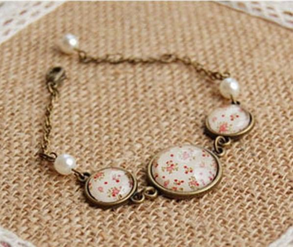 Handmade Bronze & Gemstone Floral Bracelet