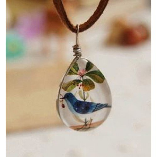 Bird & Flower Glass Pendant