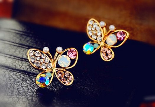 Crystal Rhinestone Butterfly Earrings