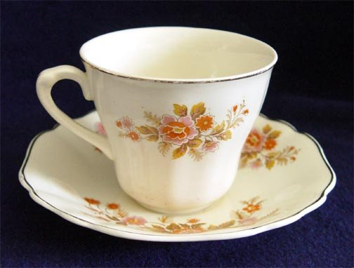 J&G Meakin Sunshine Cup & Saucer Orange Yellow Floral Teacup England