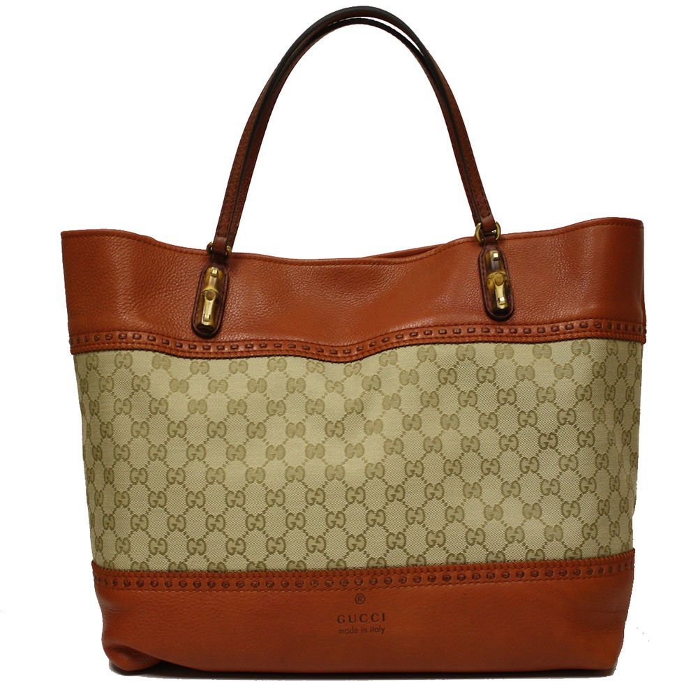 Gucci Laidback Canvas and Orange Leather Bamboo Tote Bag