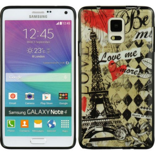 SAMSUNG GALAXY NOTE 4 PARIS AMOUR Glossy, Multi-Color, Pictorial and Rigid CASE