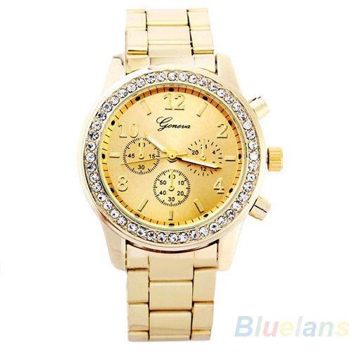 Geneva Watch with Elegant Crystal Dial Gold Tone