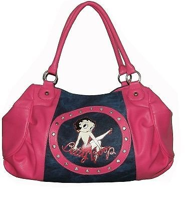 Pink Betty Boop Denim Hobo Faux Leather