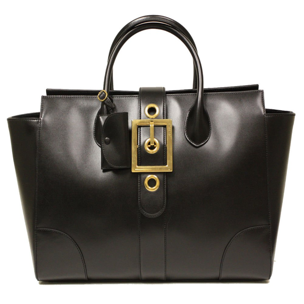 Gucci Lady Buckle Large Black Leather Business Tote Bag