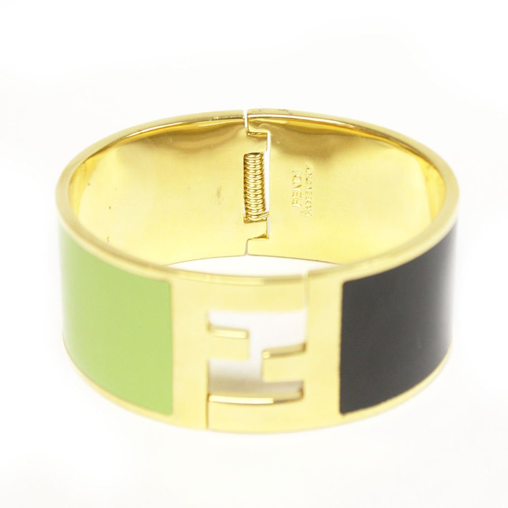 Fendi Medium Green and Black Gold Metal Bracelet