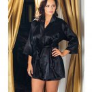 Satin 3/4 Sleeve Robe w/Matching Sash Black 3X/4X