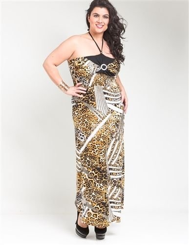 Mustard Cheetah Bandeau Smocked Plus Size Maxi Dress