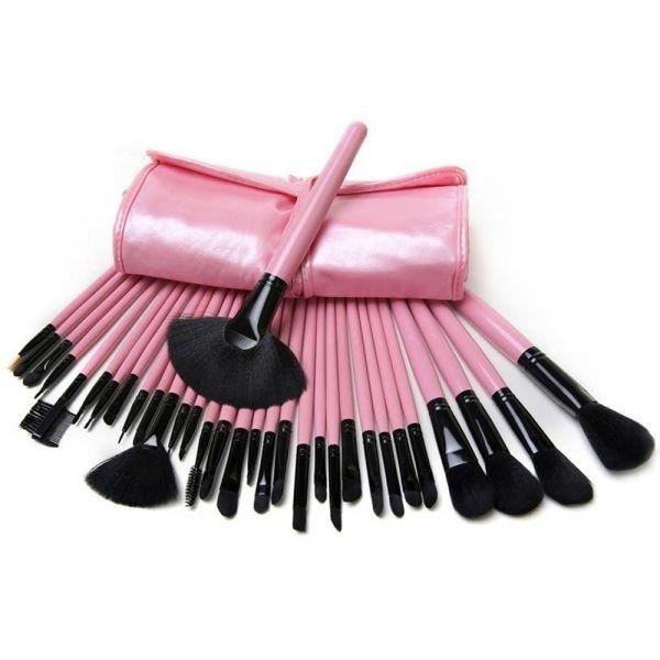 32pcs Professional Cosmetic Makeup Brush Set with Free Bag Pink