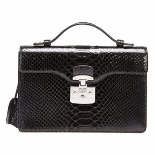 Gucci Lady Lock Black Python Leather Top Handle Bag