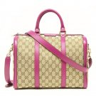 Gucci Vintage Web Pink Leather GG Canvas Boston Bag