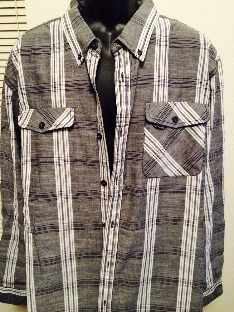 Rocawear Black Gray Plaid 3Xl Dress Shirt Classic Fit, Cotton Blend, Long Sleeve