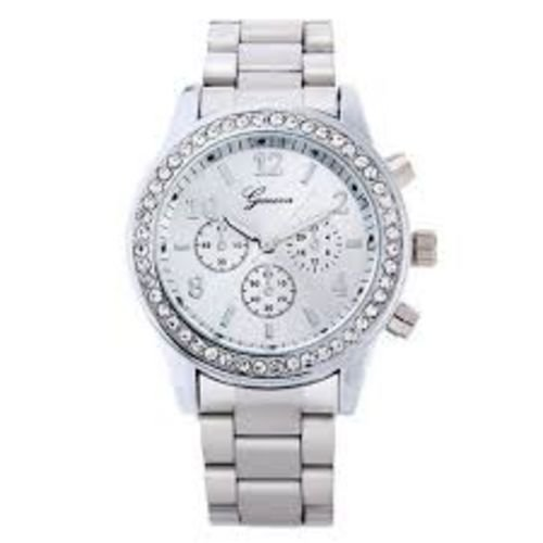 Geneva Watch with Elegant Crystal Dial Silver Tone
