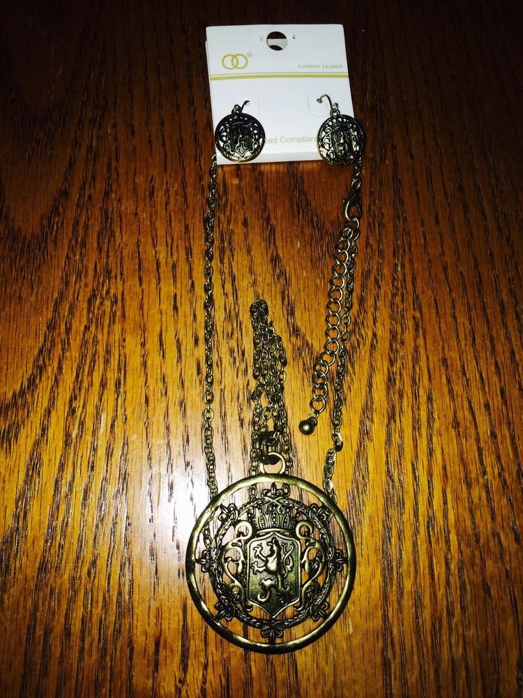 Brass Griffin Neclace and Earrings Pendant Set