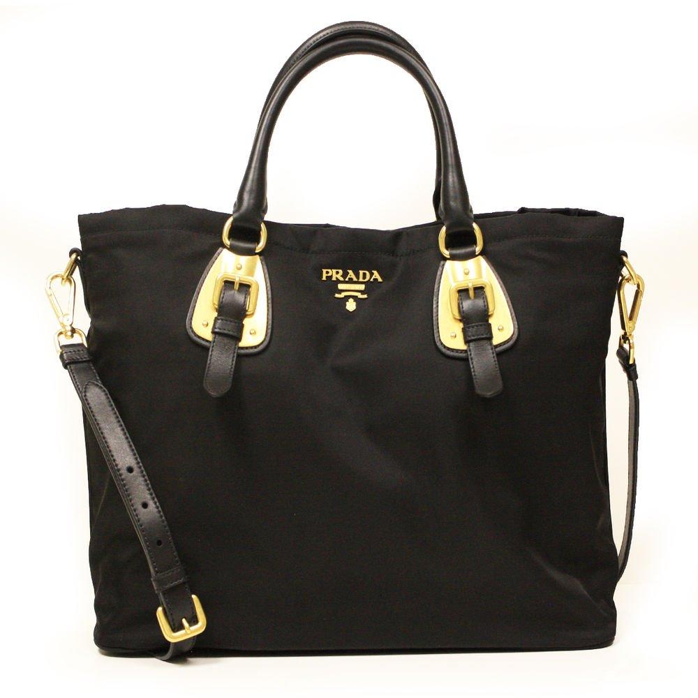Prada Nero Tessuto Black Nylon Convertible Top Handle Shopping Tote Bag