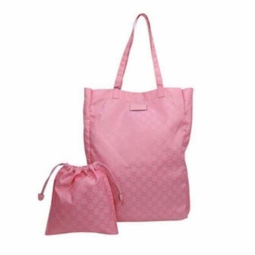 Gucci Mama's Bag Baby Pink Nylon GG Logo Shopping Tote Bag