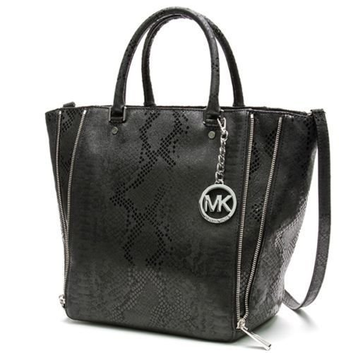 MICHAEL by Michael Kors Black Python Embossed Large Newman Handbag