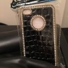 Iphone 4/4s Black Crocodile Diamond Gold Tone Case