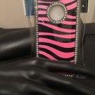 Iphone 5/5S Pink Zebra Diamond Silver Tone Case