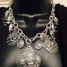 Fluer De Lis  & Black & White Zebra Silver Necklace Necklace & Earrings Set