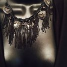 Black Heart Strings Necklace & Earrings Set