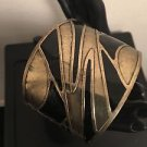 Brass & Black Abstract Pattern Cuff Bracelet