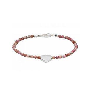 Gucci Pink Sterling Silver Heart Charm Bracelet