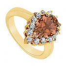 Smoky Topaz and Diamond Ring  14K Yellow Gold - 1.50 CT TGW