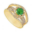Emerald and Diamond Engagement Ring  14K Yellow Gold - 1.25 CT TGW