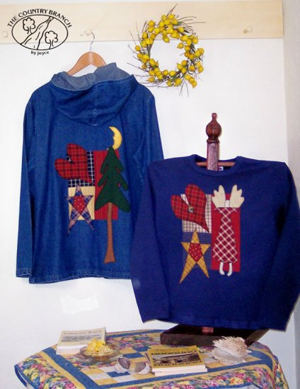 Jacket & Sweatshirt Primitive Applique Pattern for Quilt or Sweatshirt, PATTERN ONLY  TCB 207-1
