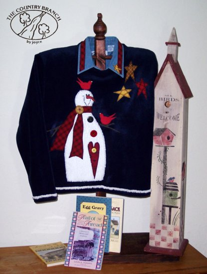 Birds Roost Everywhere Country Snowman Applique Pattern for Sweatshirt, PATTERN ONLY TCB 206-3