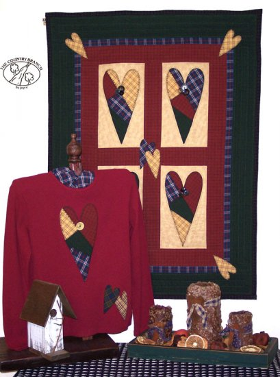 Patch Hearts Country Primitive  Applique Pattern for Quilt  Sweatshirt, PATTERN ONLY  TCB 204-1