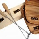 Mom Dad Holiday Gift Set of 2 Steak Branding Irons with Gift Box and branded plates
