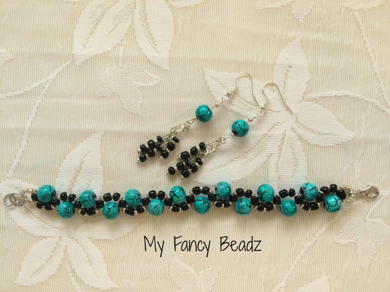Spiral Turquoise-Black Bracelet and Earrings Set