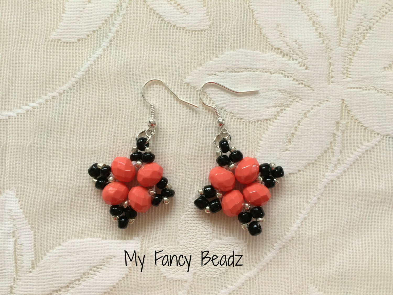 Peach and Black Diamond Earrings