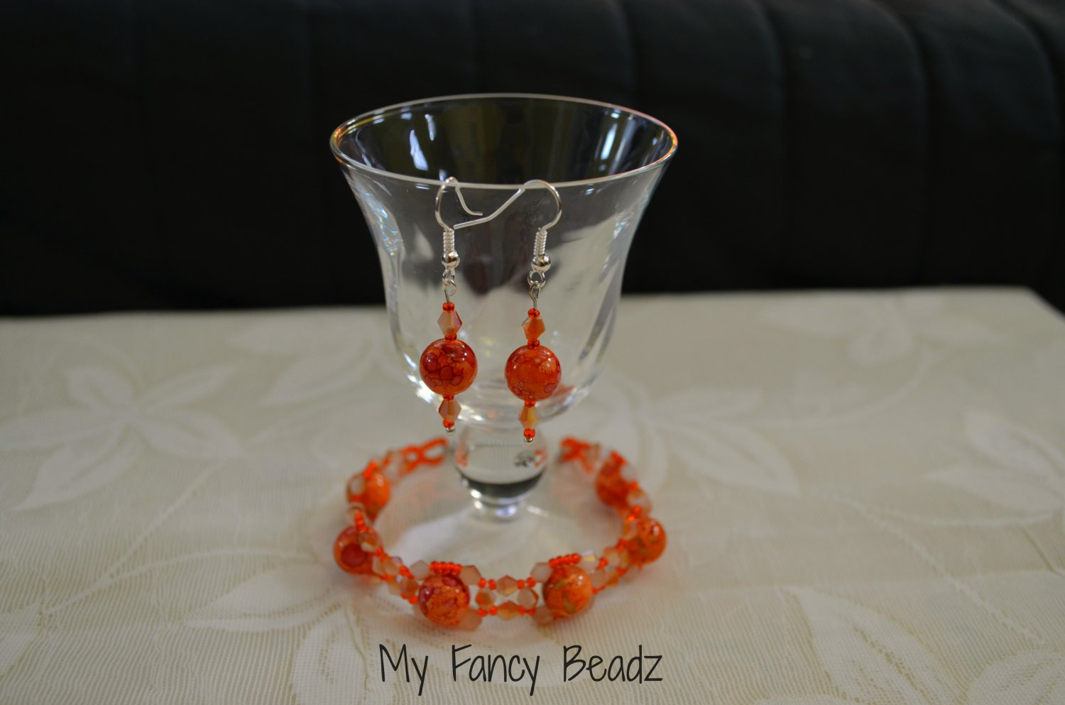 Autumn Orange Bracelet and Earrings Set