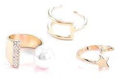 Trio Crystal Finger Rings set