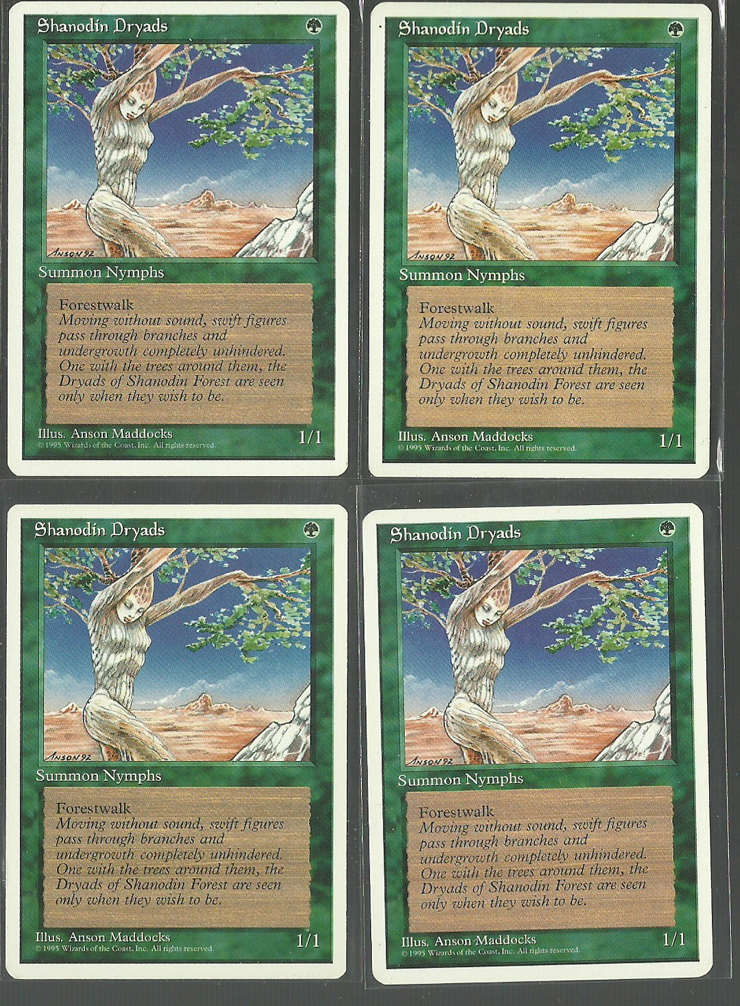 Shanodin Dryads x4 - NM - 4th Edition - Magic the Gathering