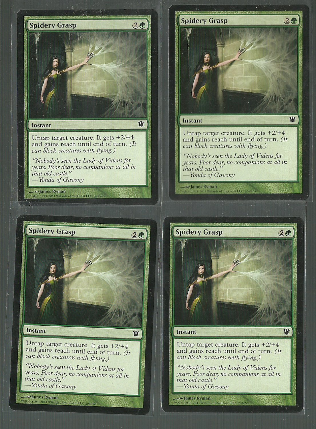 Spidery Grasp x4 NM Innistrad Magic the Gathering