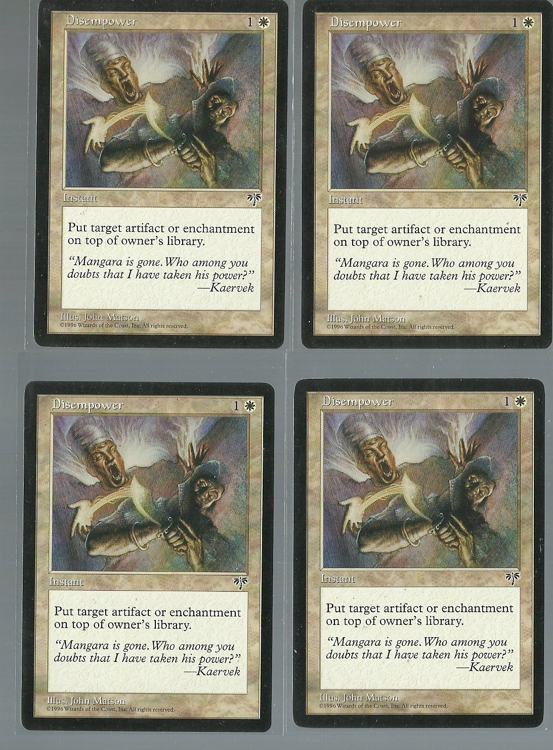 Disempower x4 NM Mirage Magic the Gathering