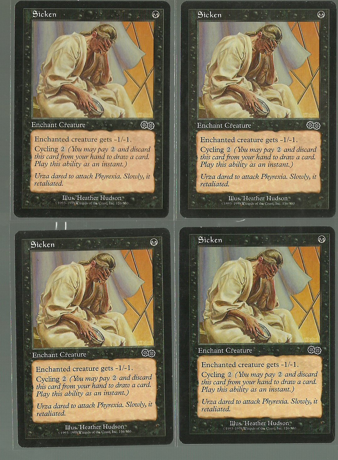 Sicken x4 NM Urza's Saga Magic the Gathering
