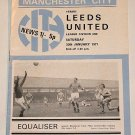 MANCHESTER CITY v LEEDS UNITED - 30.JAN.71 - Football Programme