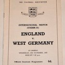 UNDER 23s - ENGLAND v WEST GERMANY - 27.NOV.63 - Football Programme