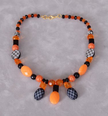 Handmade Orange and Black Funky Fun Necklace, Choker, Dimensional Faceted Textured Necklace